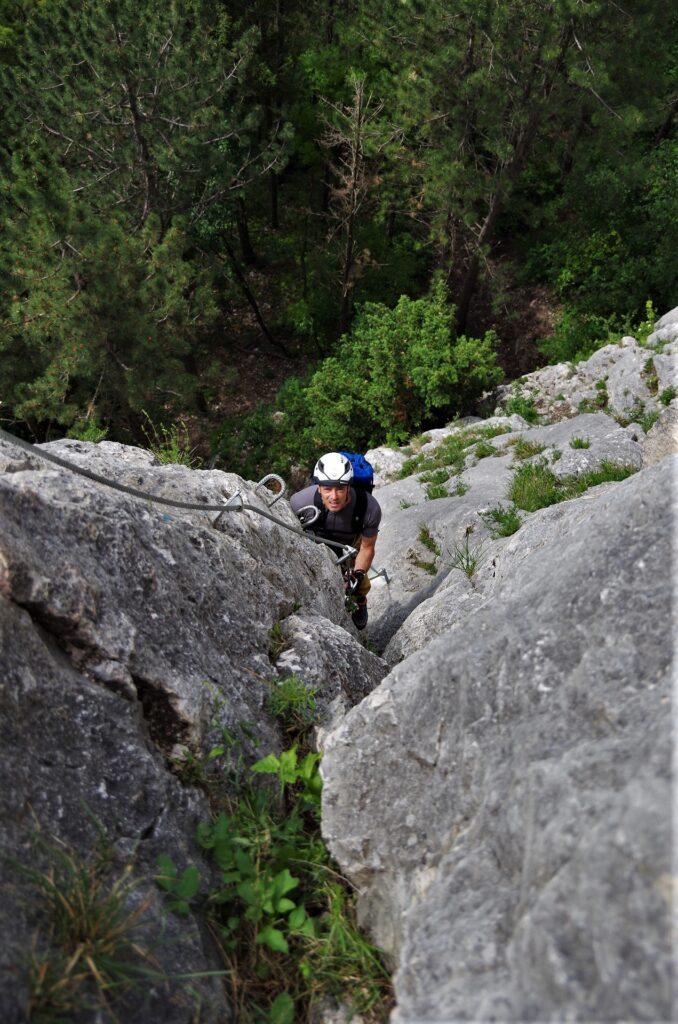 Pierwsze trudności na ferracie OTK Klettersteig