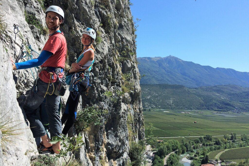 Wspinacze - Mattias i Oliwia na drodze Moon Bears, PIccolo Dain, Włochy