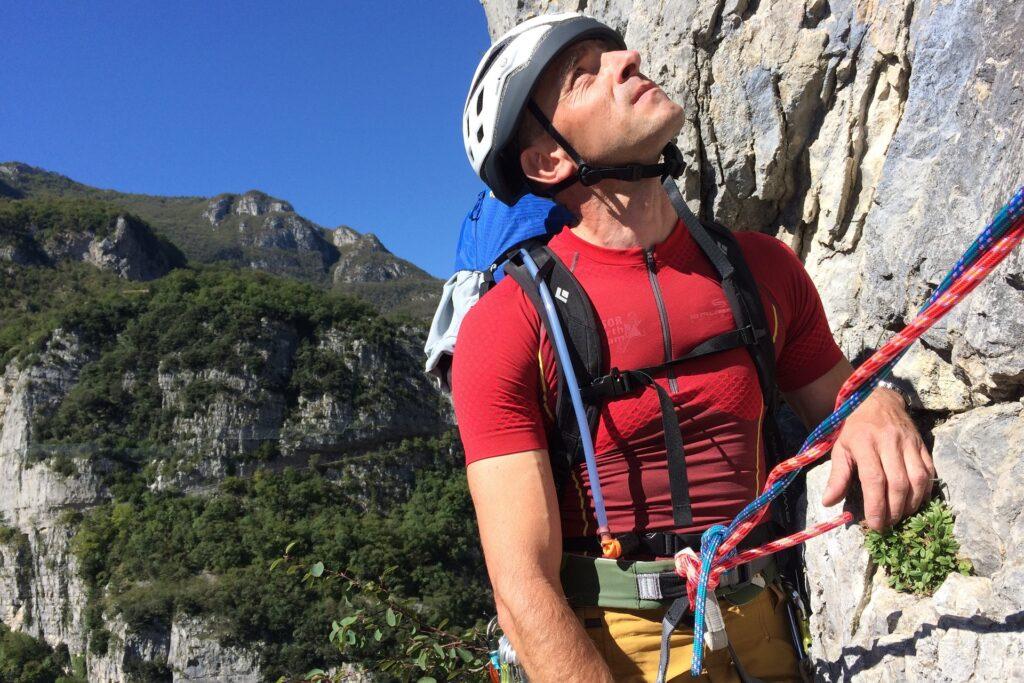 DArek na stanowiski na drodze Orrizzonti Dolomitici na PIccolo Dain