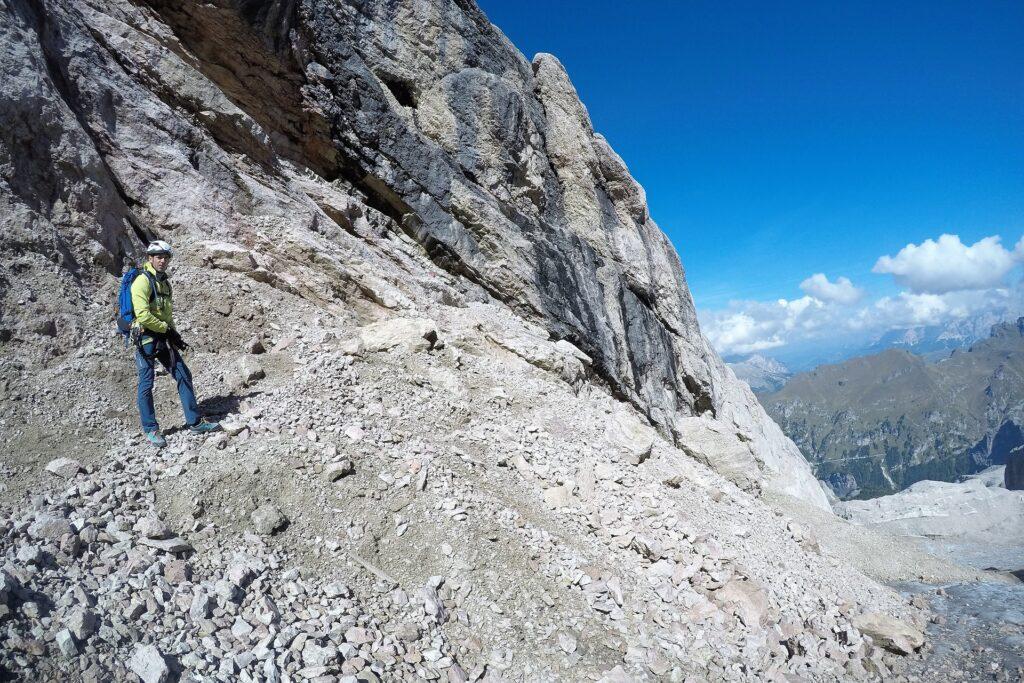 Darek tuż przed startem ferraty na przełęcz Forcella Marmolada