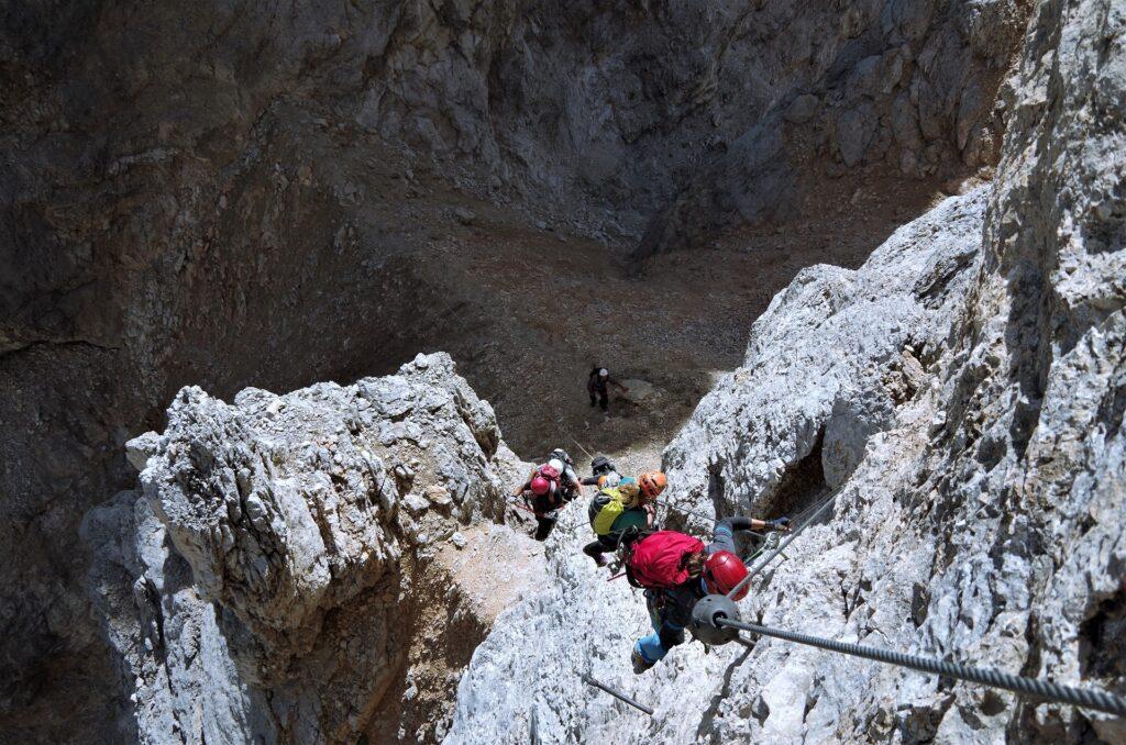 Wariant ferraty Gianni Aglio za D - wyjście na wierzchołek Torre Aglio