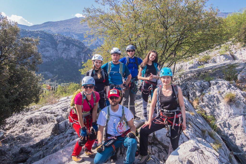 Uczestnicy naszego wyjazdu na via ferraty nad jeziorem Garda