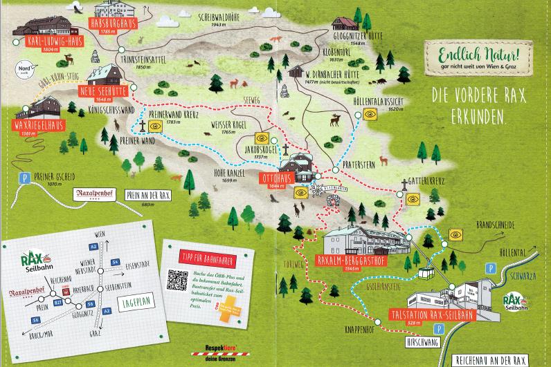 Mapka masywu Rax - scan z lokalnego informatora turystycznego