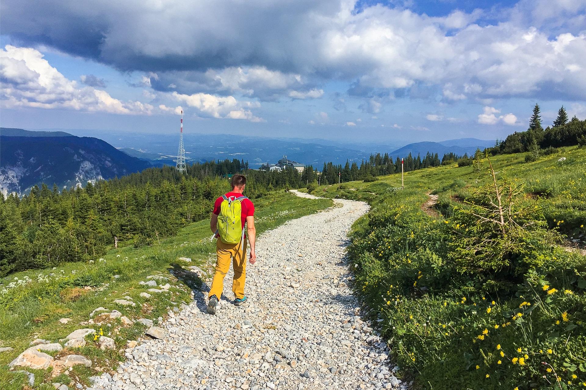 Zejście z Preinerwand do kolejki górnej stacji kolejki na Rax prowadzi przyjemnym szlakiem